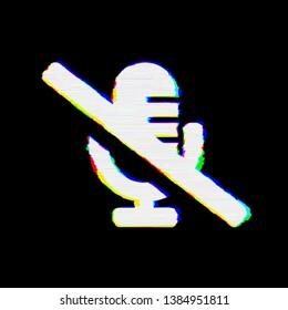 Symbol microphone slash has defects. Glitch and stripes