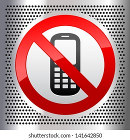 Symbol mobile phone on a metallic perforated stainless steel sheet