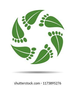 Symbol natural Cosmetics, leaves as footprint, logo beauty salon