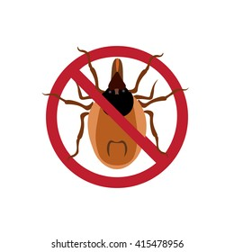 Symbol parasite warning sign. Mite spider. Mite red. Mite allergy. Epidemic. Mite parasites. Raster illustration