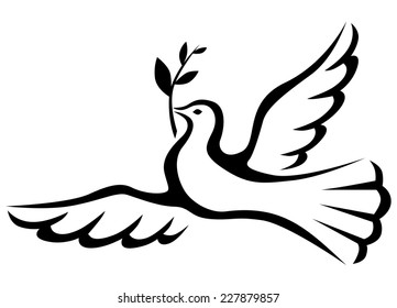 Symbol peace of  dove with a palm branch
