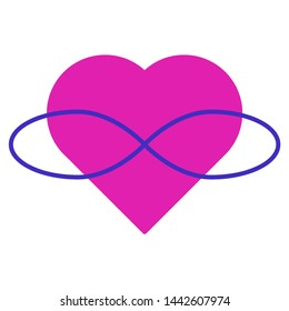 Symbol of polyamory. Heart and infinity. Endless love. White background and pink heart