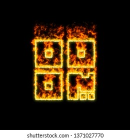 The symbol qrcode burns in red fire
