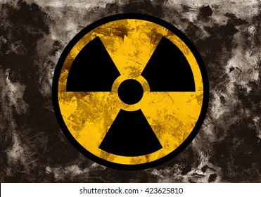 Symbol of radioactivity and radiation on dark grunge background. Dirty rough style and scratched material of post-apocalyptic time