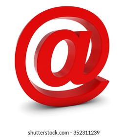 AT Symbol - Red 3D Email Symbol Isolated on White