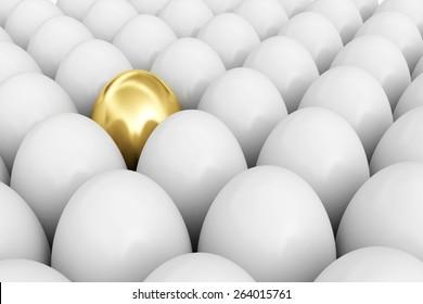 Symbol of rich life. Golden egg among white eggs