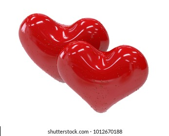 Symbol of romance and love. 3D rending.Two beautiful hearts of different shapes