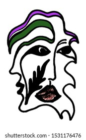 Symbol of sexual minorities, gays and lesbians. drawing marker by hand.Isolated Abstract Surrealist Face in Genderqueer Pride LGBT Traffic Flag