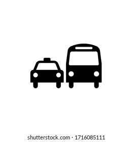 Symbol sign. Ground transportation pictogram, ground transportation sign