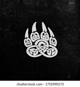 """The symbol of Slavic pagan god Veles, """"Bear Paw."""" The symbol of Veles's ability to turn into a bear. Illustration for t-shirts, tattoo or other purposes."""