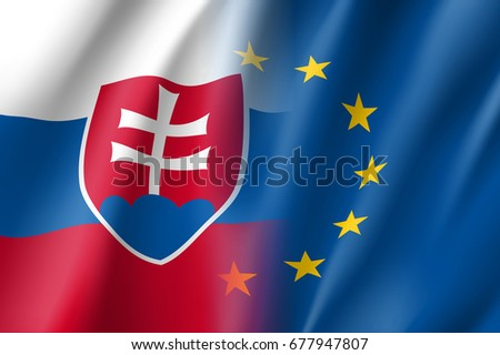 dc1a4af435 Symbol of Slovakia is EU member. European Union sign with twelve gold stars  on blue