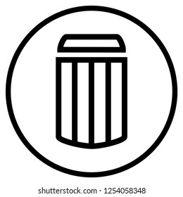 Symbol of Trashcan - Flat Icon for Trash Rubbish or Garbage
