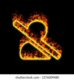 The symbol user slash burns in red fire