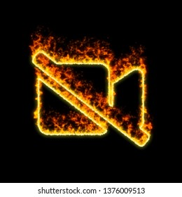 The symbol video slash burns in red fire
