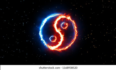 Symbol of yin and yang of the dark background, the sign of the two elements