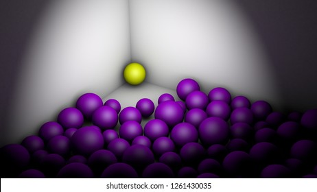 Symbolic artistic concept of intimidating,  harassing, scaring, bullying, putting up against the ropes... 3D Rendering, with purple balls and a yellow one.