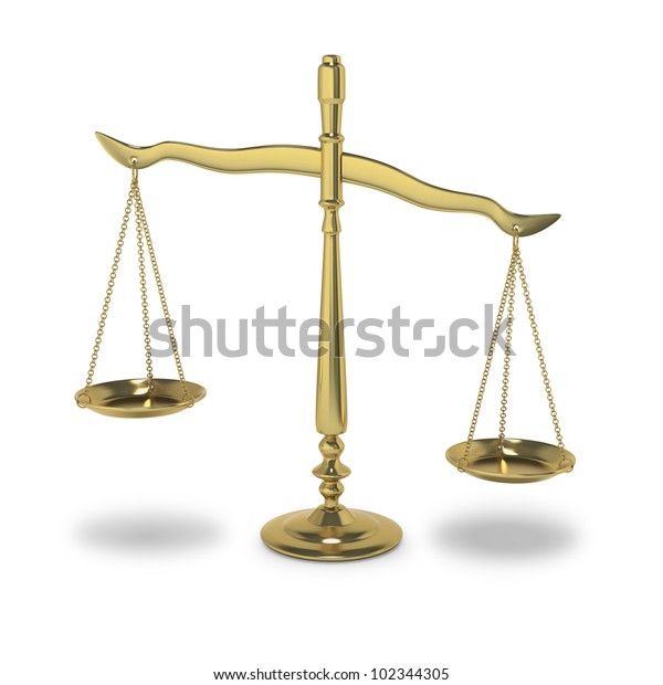 Symbolic balance of justice or law on white background