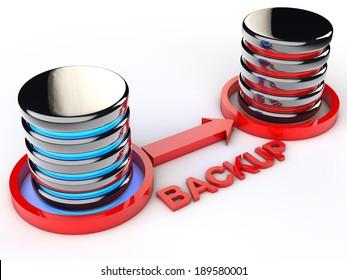 symbolic Data backup over white background