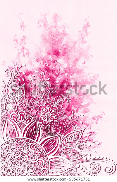 Symbolic Flowers Leafs Abstract Floral Outline Stock
