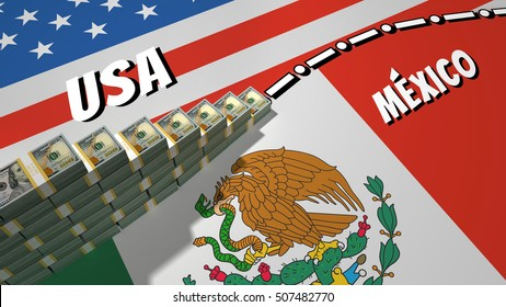 The symbolic image of the border between the United States and Mexico, with the unfinished wall of the bank packages of dollars US.