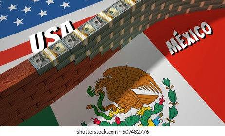 The symbolic image of the border between the United States and Mexico, with a wall built of dollars of bank packages and bricks.
