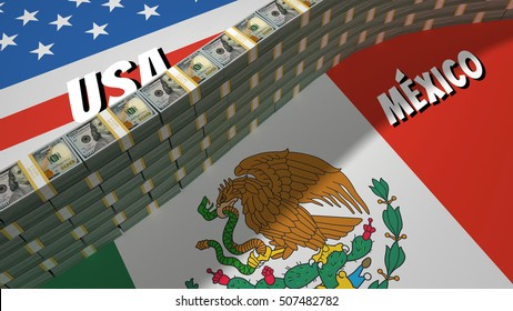 The symbolic image of the border between the United States and Mexico, with a wall built of banking packages dollars US.