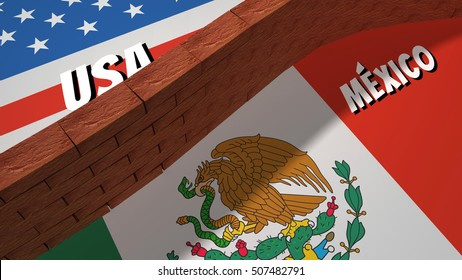 The symbolic image of the border between the United States and Mexico, with a wall built of bricks.