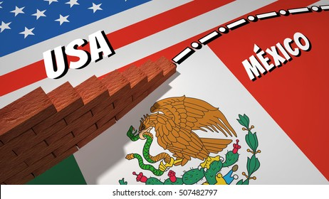 The symbolic image of the border between the United States and Mexico, with the unfinished wall of bricks.