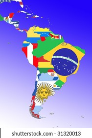 symbolic image: Latin America: South America, Middle America: outline and flags