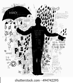 The symbolic image of a man who stands in the rain