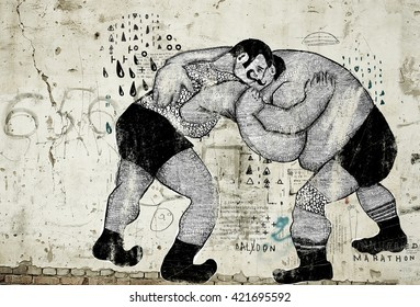 The symbolic image of people who are struggling in the ring