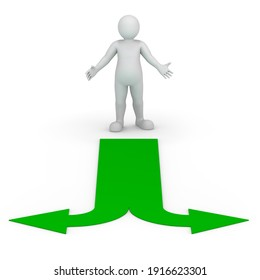 Symbolic person stands at the fork of the two green arrows. The concept of decision-making. 3D rendering.
