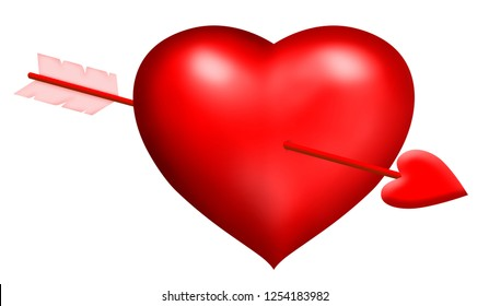 Symbolic red heart, hit heart mit arrow