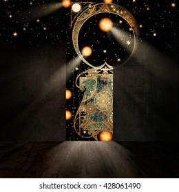 Symbolic representation of gate to paradise, 3D illustration