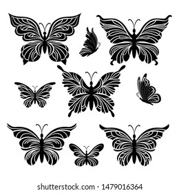 Symbolical Butterflies Pictograms, Black Contours Isolated on White Background.