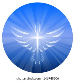 A symbolized illustration of a dove and cross representing God's Holy Spirit, on a blue circle background with rays of light.