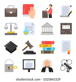 Symbols of legal regulations. Juridical icons set in flat style. Legal juridical, tribunal and judgment, law anb gavel, illustration