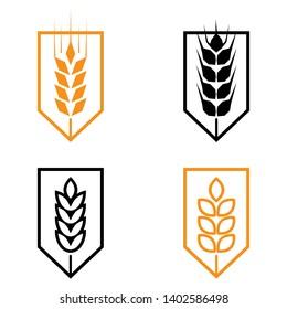Symbols. for logo design Wheat. Agriculture, corn, barley, stalks, organic plants, bread, food, natural harvest,  illustration on white