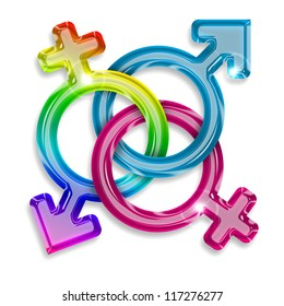 symbols of male, female and trans gender on white background