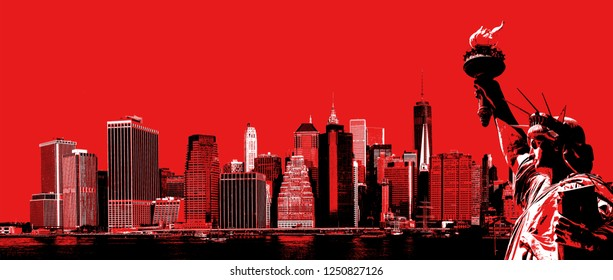 Symbols of New York. Manhattan Skyline and The Statue of Liberty  NYC. Contemporary art and poster style image in red.