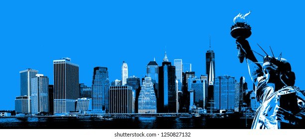 Symbols of New York. Manhattan Skyline and The Statue of Liberty  NYC. Contemporary art and poster style image in blue.