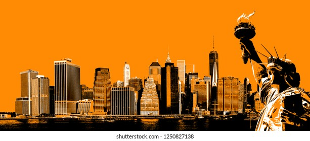 Symbols of New York. Manhattan Skyline and The Statue of Liberty  NYC. Contemporary art and poster style image in orange.