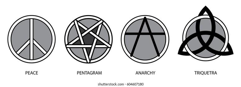 Royalty Free Stock Illustration Of Symbols Set Peace Pentagram