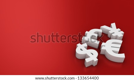 Symbols World Currencies On Red Background Stock Illustration