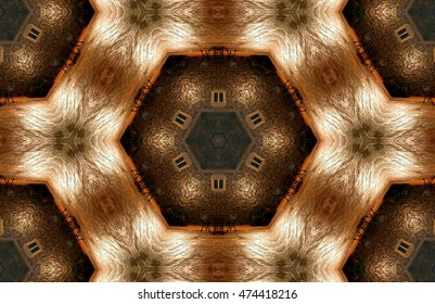symmetric composition, kaleidoscopic,Big Bang, geometric composition of a three-dimensional space, abstract photography , abstract surrealism, golden, background, decorative, kaleidoscopic, artistic,