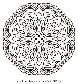 Symmetrical circular pattern mandala. Oriental pattern. Coloring page for adults. Turkish, Islamic, Oriental ornament