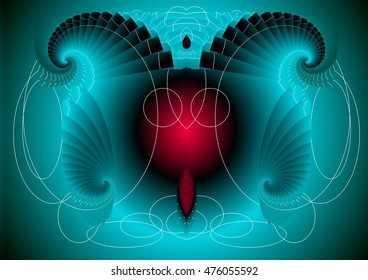 symmetrical composition, kaleidoscopic, mirror effect,turquoise and red, geometric composition of colors, patterns,texture, allegory of the devil,visual allegories, visual metaphors,