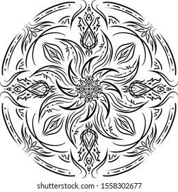 Symmetrical designed .Rising of  power.Black and white pattern.