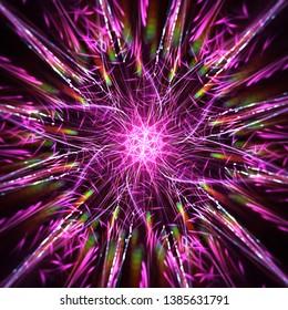 Symmetrical pink force, digital illustration