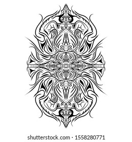 Symmetrical of power designed for Tattoo and Pattern.